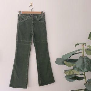 Vintage LEI Jeans Green Corduroy Flares Size 3